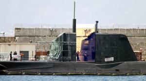 El submarino de la Royal Navy 'HMS Ambush' de propulsión nuclear británico en el puerto de Gibraltar