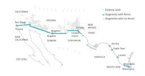 La frontera actual entre México y USA