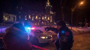 La policía de Quebec, ante la mezquita donde se ha producido el atentado.