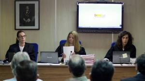 Las magistradas Rocío Martín, Samantha Romero y Eleonor Moya, durante la presentación de las conclusiones del juicio del caso Nóos.
